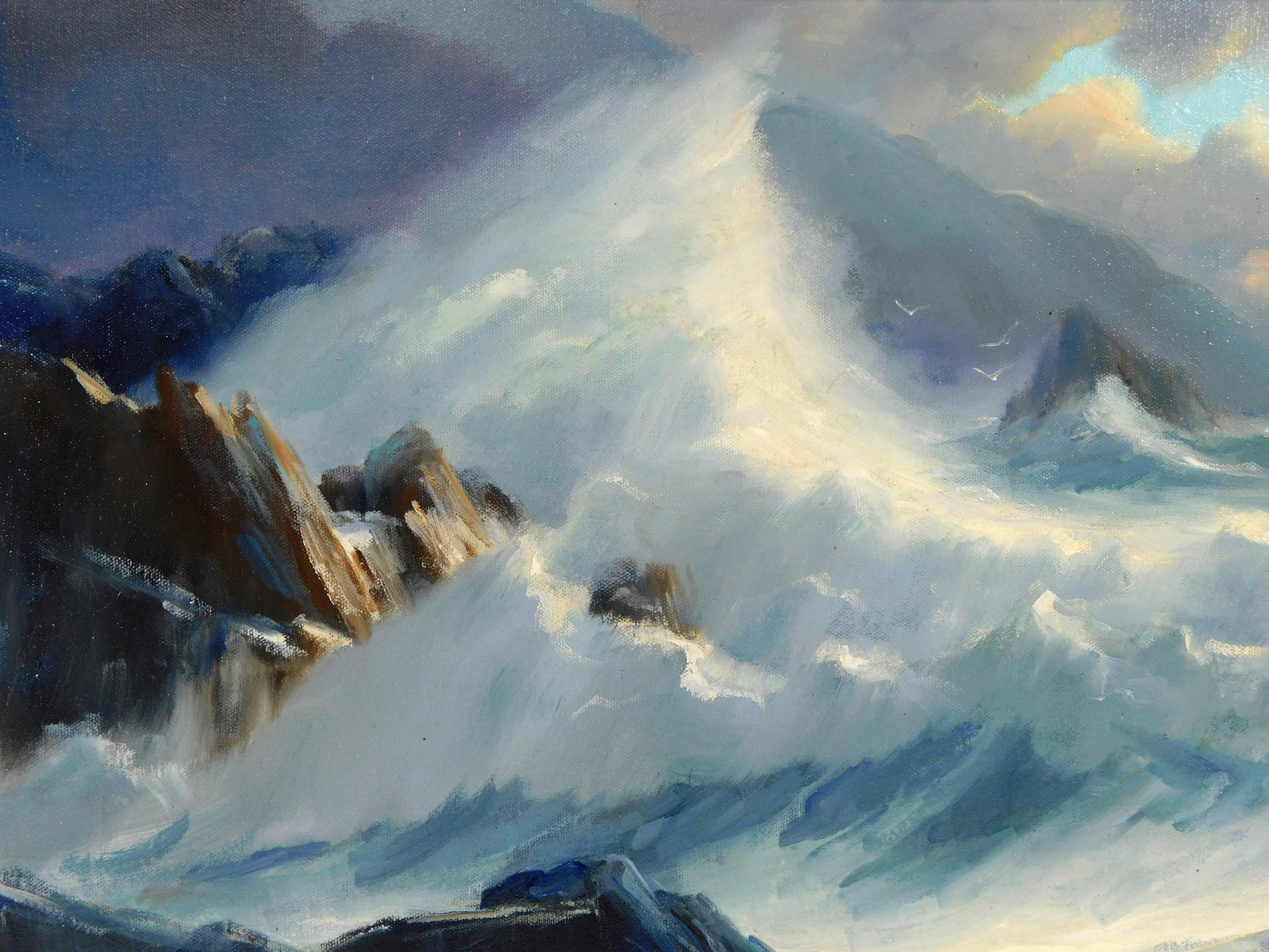 Bruce B. Turner (American, b. 1941), oil on canvas, depicts large waves crashing over jagged rocks, heavy cloud of wave's mist comma..