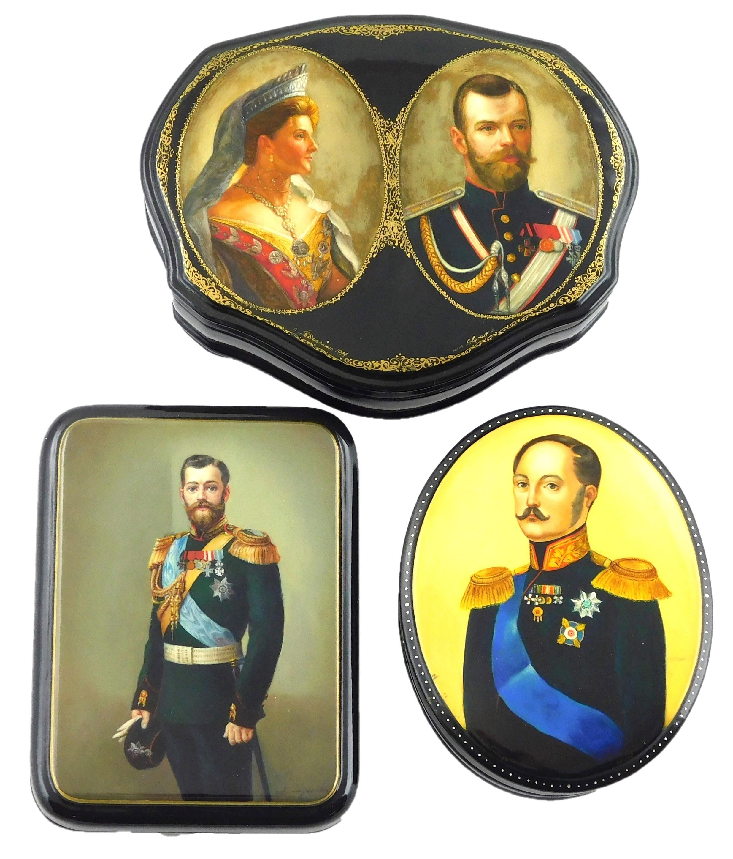 Russian hand-painted lacquer boxes, group of three with royal portraits: Nicholas I, depicted from the waist up, signed on lower edg...