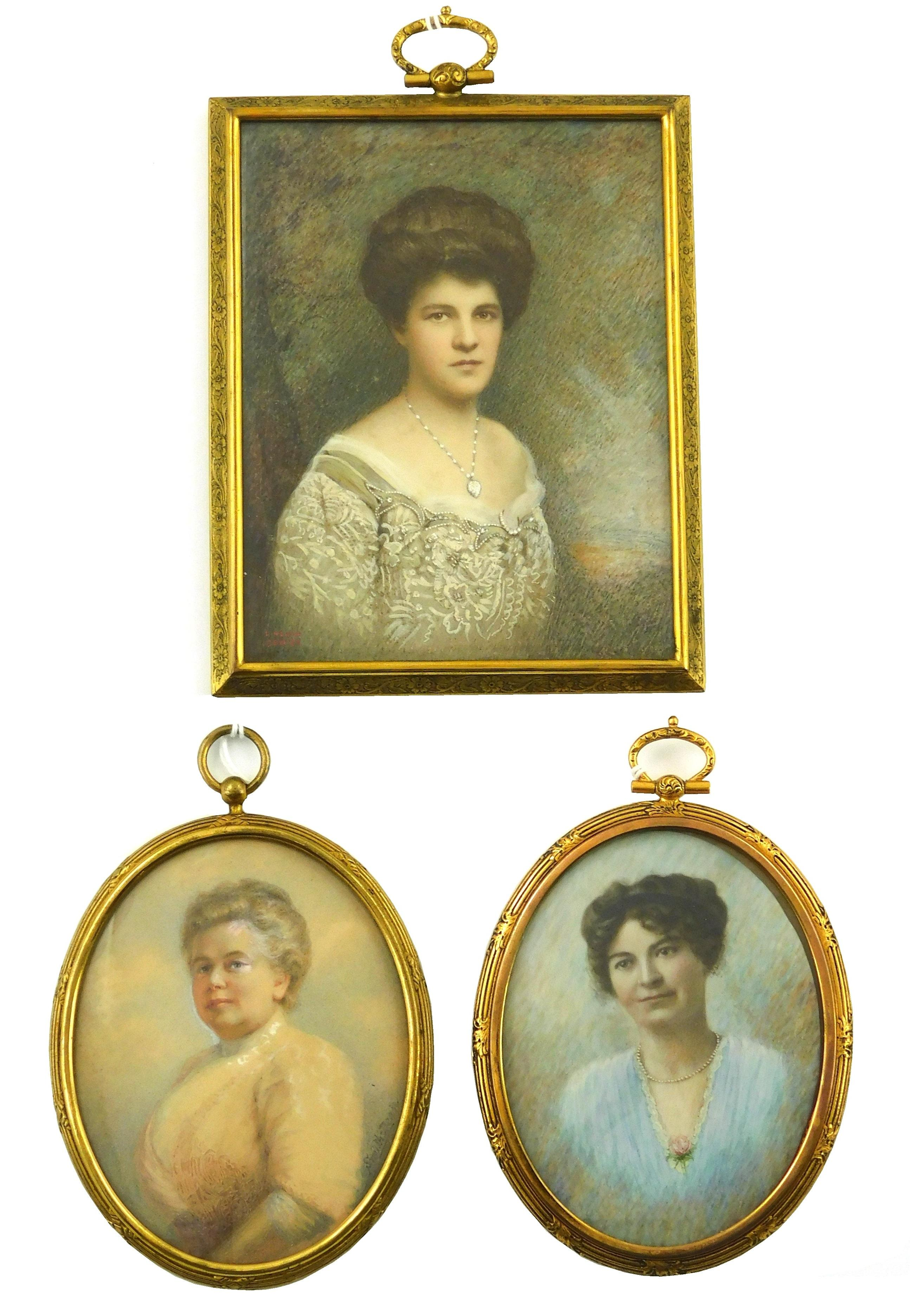 """MINIATURES: Three women on paper and ivory supports: one on rectangular support signed """"Lincoln Dewick"""" lower left depicts woman wit..."""
