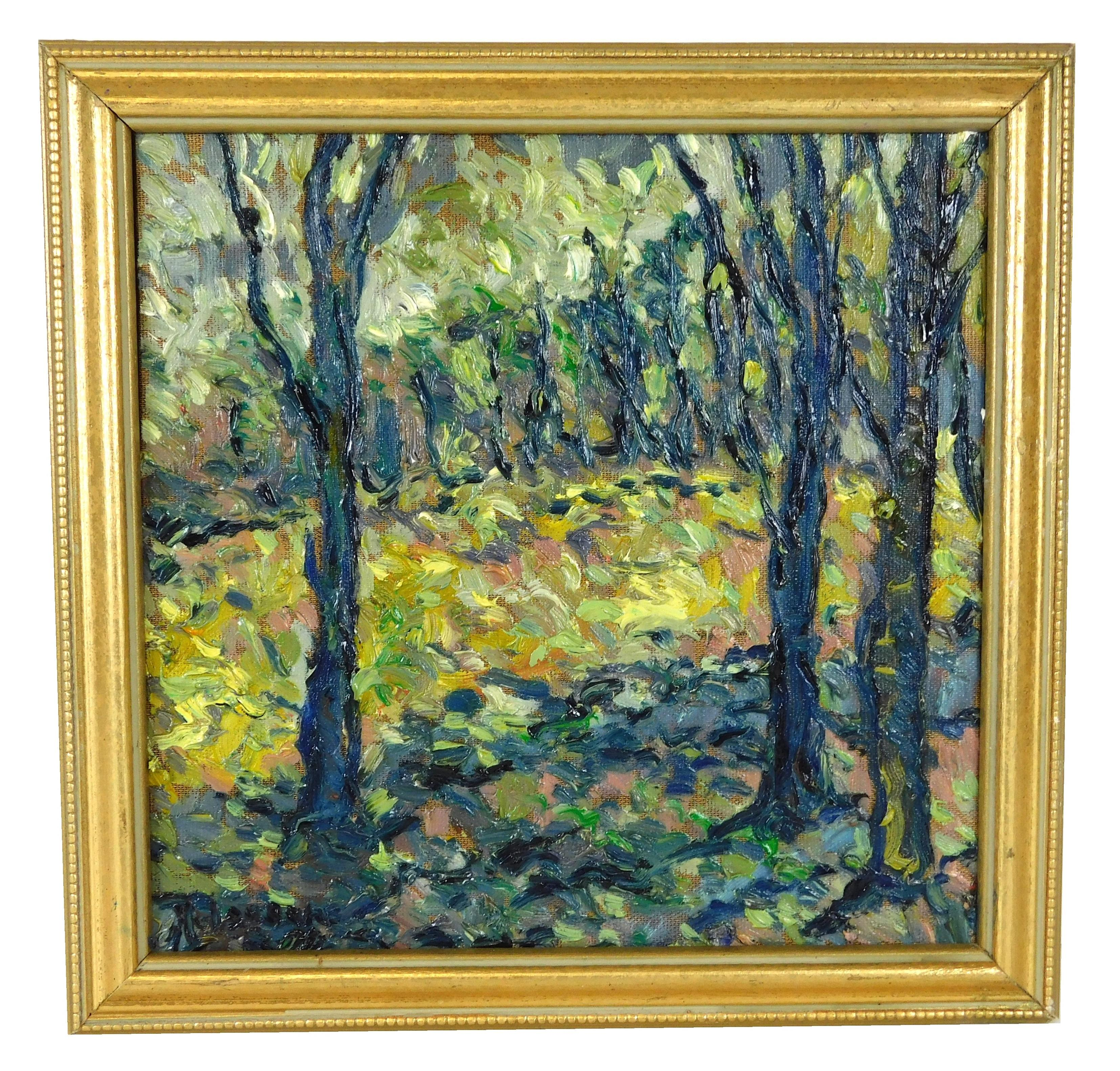 "Phillip Helgeson (American, 20th C.), oil on canvas, ""Summit Ridge Sunlight"", landscape scene with heavily applied impasto texture,..."
