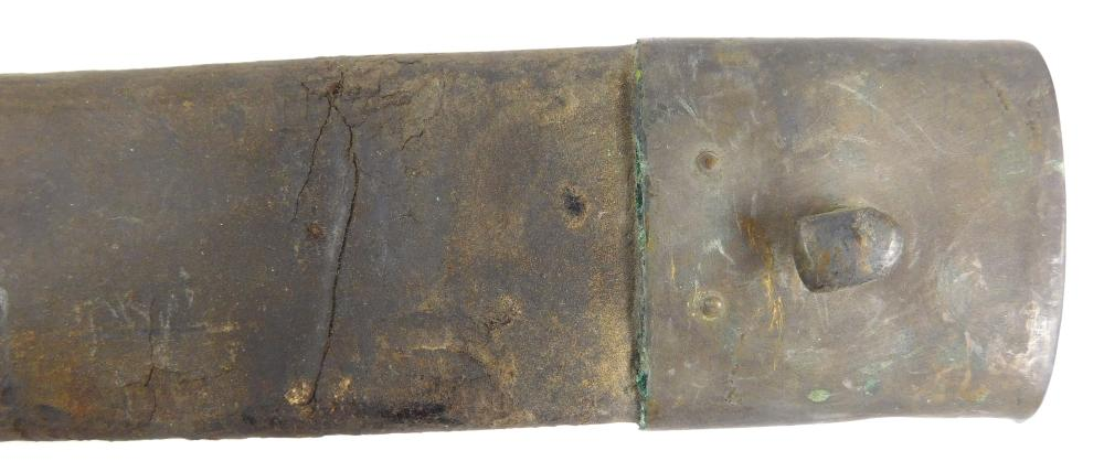 WEAPONS: Pair of sword scabbards: brass artillery officer's scabbard dated 1874, possibly French; brass mounted leather scabbard pos..