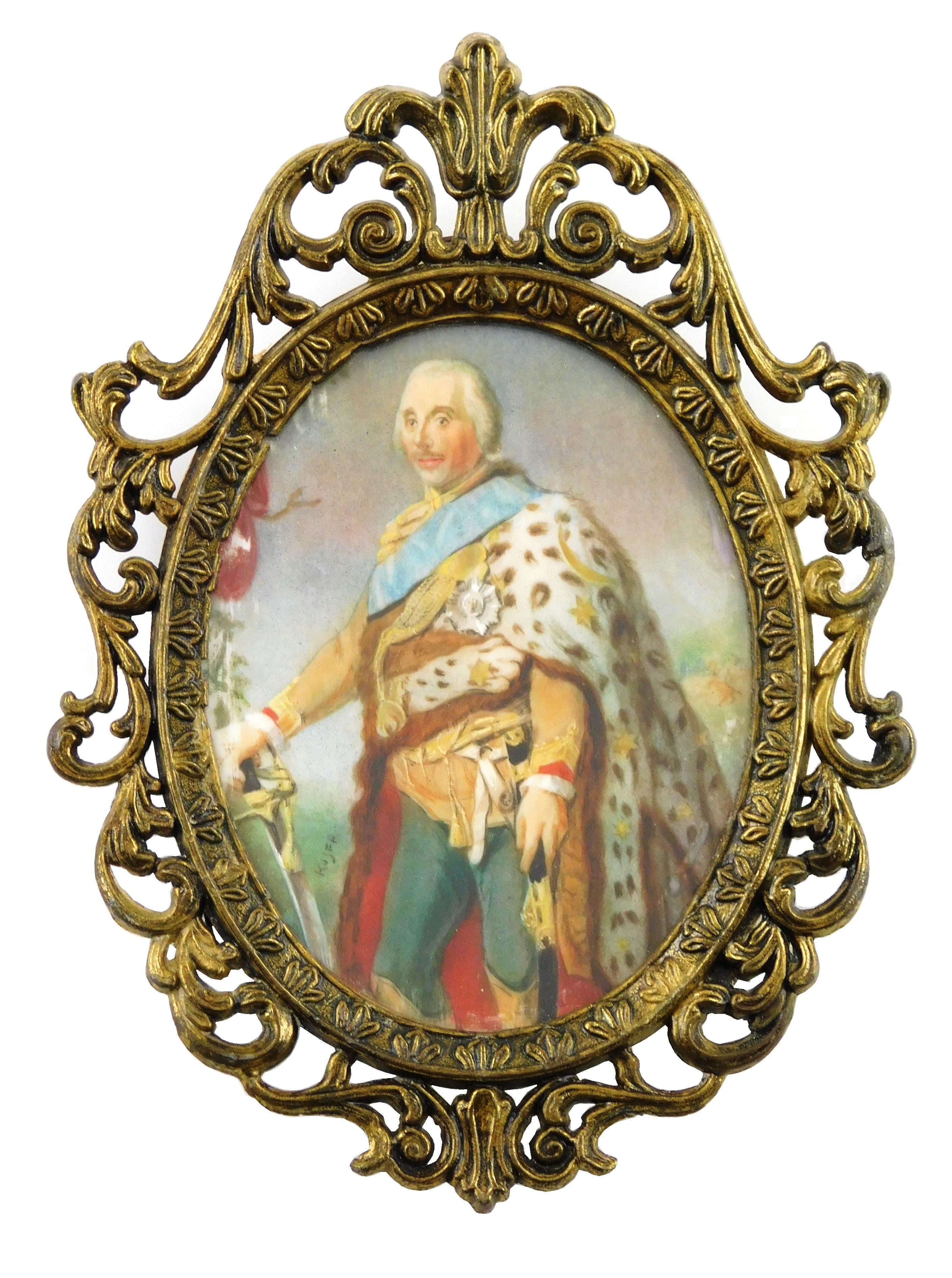 MINIATURE: Military Gentleman, depicts 18th Century English officer with a leopard shin cape, sword, blue sash, medals, and powdered...