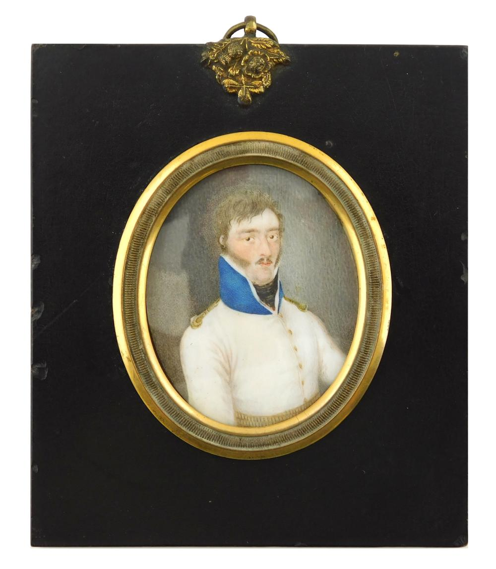 MINIATURE: Military gentleman, depicts early 19th C. East India Company Officer, oval support, white jacket with standing tall blue...