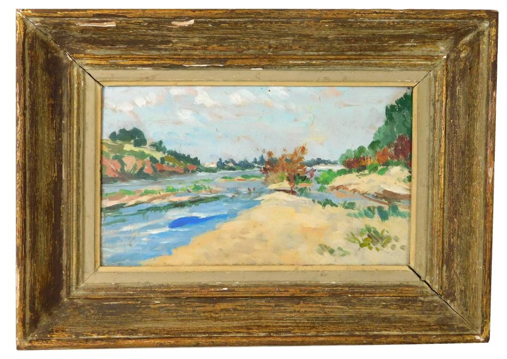 Jean-Baptiste Grancher (France, 1911-1974), oil on panel, painterly landscape of a river or estuary running through sandy banks and...