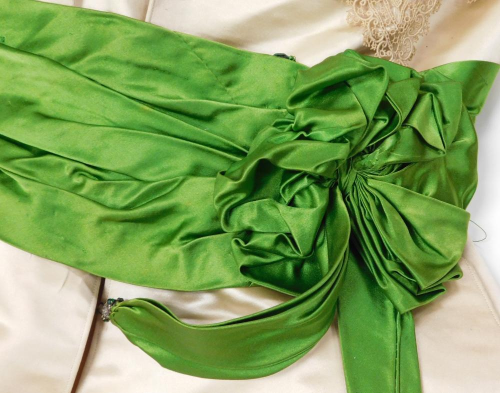 House of Worth satin dress with green sash, c. 1890's, museum provenance, two pieces, bodice and skirt, details include: white satin..