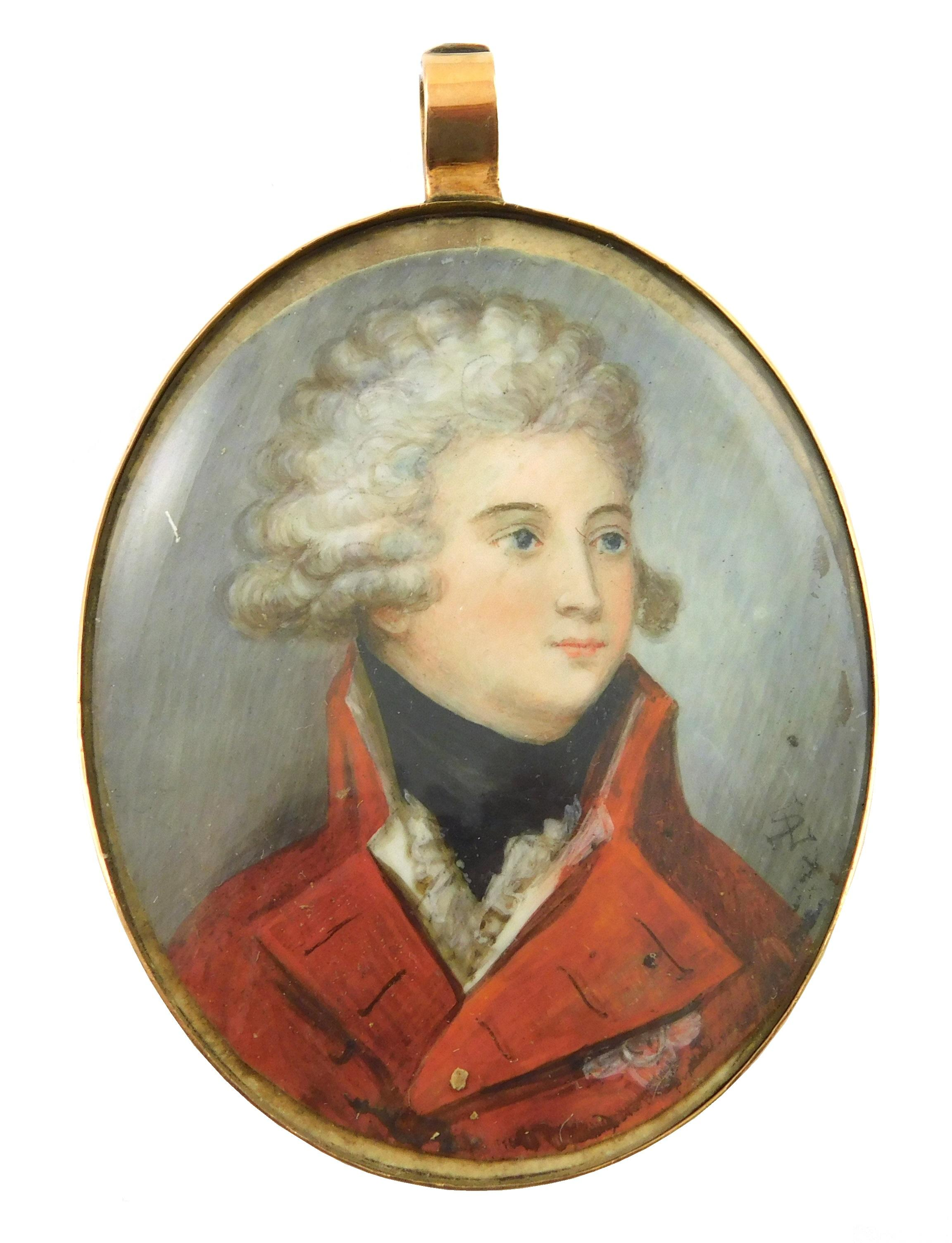 MINIATURE: Military gentleman, oval support, powdered wig, red jacket with standing collar, black neck cloth, monogrammed with inter...