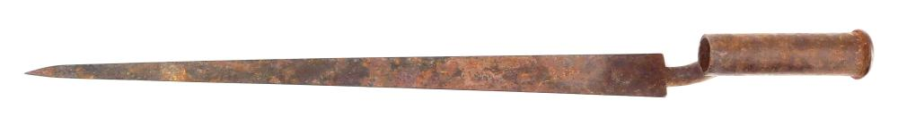 WEAPON: 18th C. Socket bayonet numbered 24, aged patina, possibly for a Brown Bess musket, wear consistent with age and use, good co...