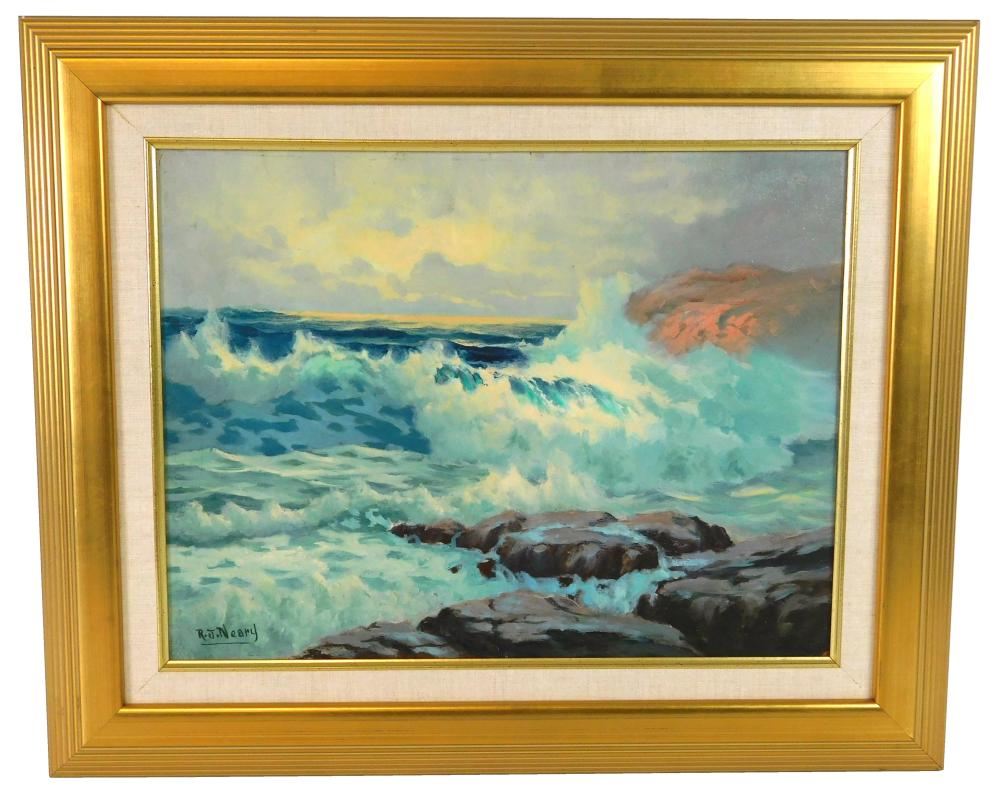 R. J. Neary, oil on canvas, depicts crashing waves on rocky area, large wave breaks on light pink rock outcrop in background, signed...