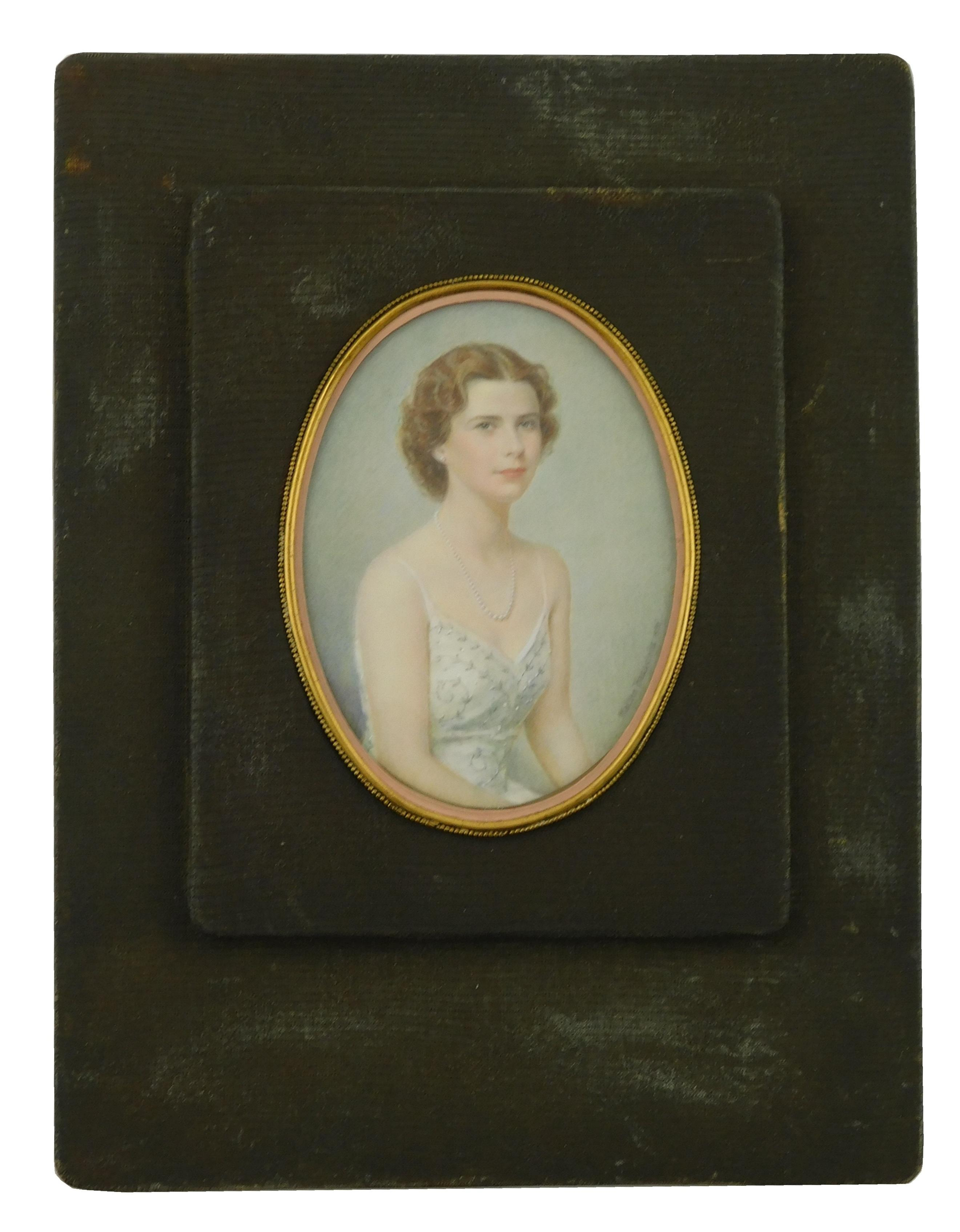 """MINIATURE: Young woman, oval support, signed and dated center right """"Malthe Hasselriis 1950"""", (Hasselriis was a recipient of the Lev..."""