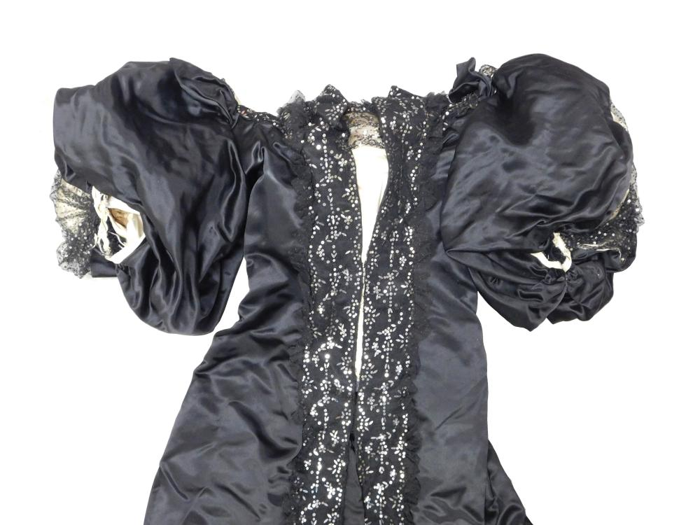 House of Worth black satin overgown, c. 1890's, museum provenance, details include: gown has train over white satin bodice, Worth la..