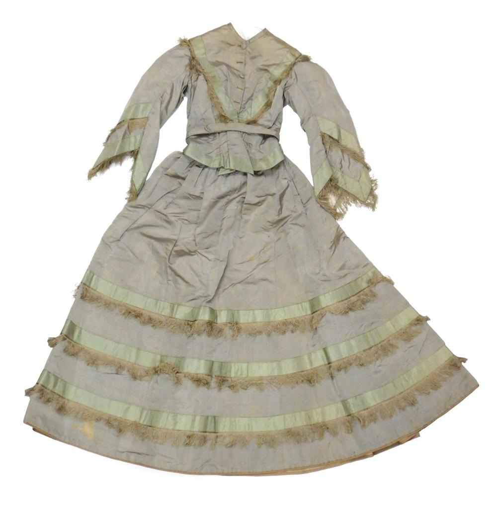 Grey taffeta dress, mid-19th C., museum provenance, two pieces, bodice and skirt, trimmed with green ribbon and fringe, details incl...