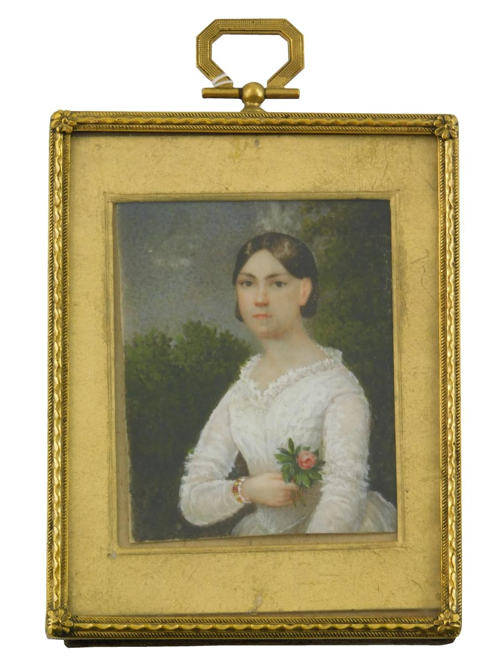 MINIATURE: Young woman, rectangular support, portrayed in landscape wearing white gown and holding single pink rose; some discolorat...