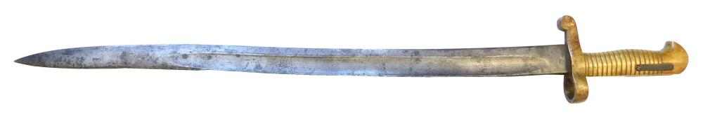 Civil War brass handle Sharp's saber bayonet, fits above Sharp's numbered 165, wear consistent with age and use, good condition, sol.