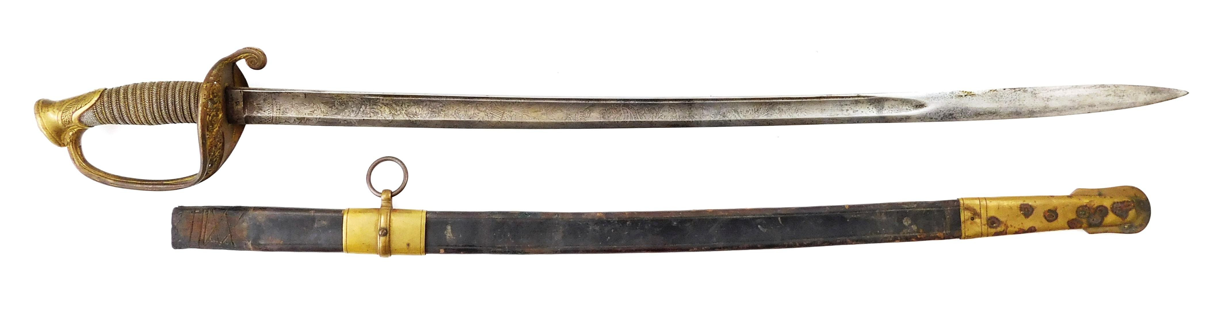 WEAPON: Civil war infantry officers sword, dated 1856 Ames. sword Co. Chicopee Mass., made with leather scabbard with the metal thro...