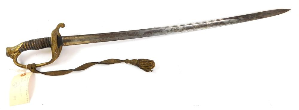 WEAPON: Civil war infantry officers sword, 1853, without scabbard, most likely impacted etched blade, with metallic ribbon and tasse...