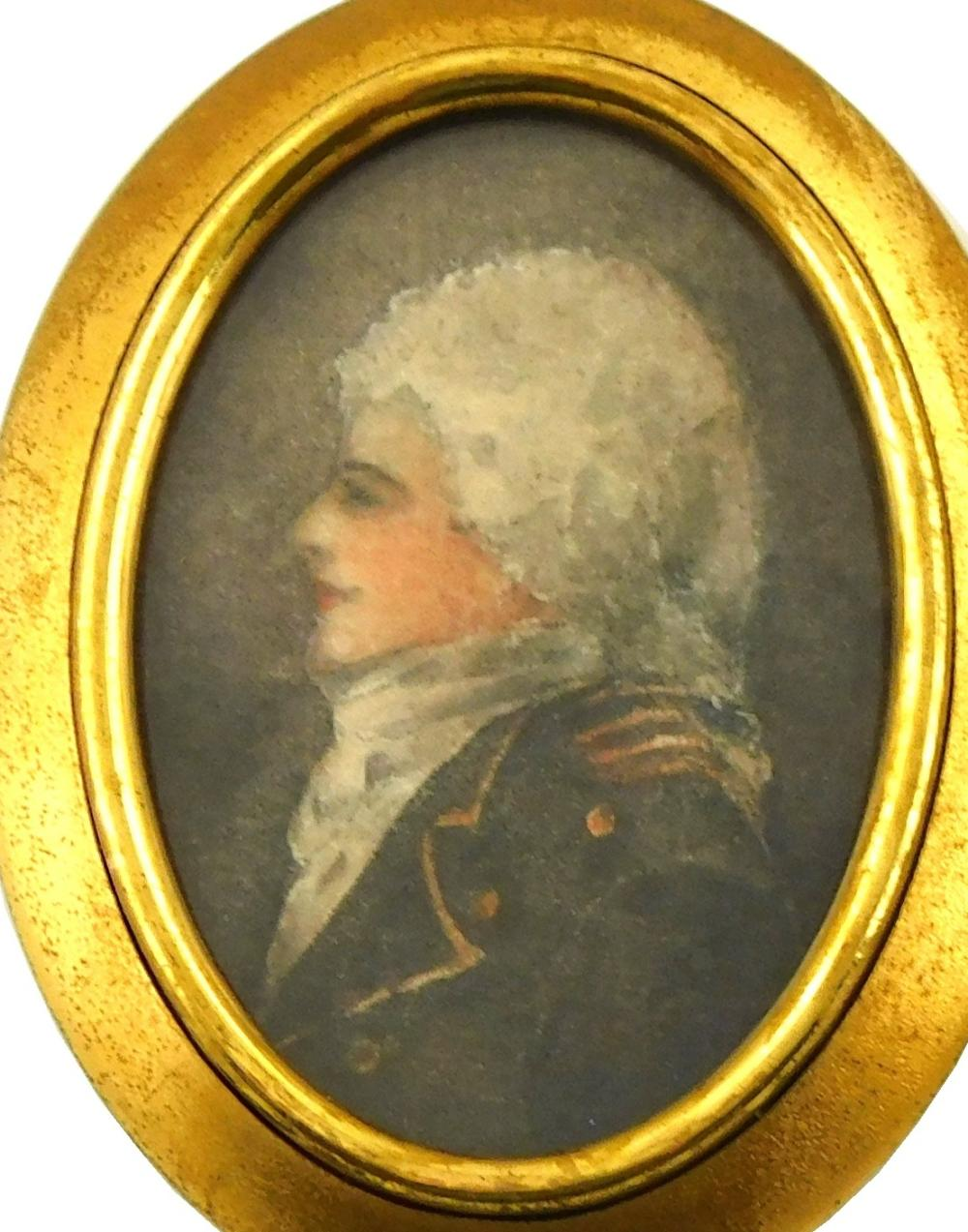 MINIATURES: Two military gentlemen, both likely on paper with oval supports, one depicting late 18th C. English General, with powder...