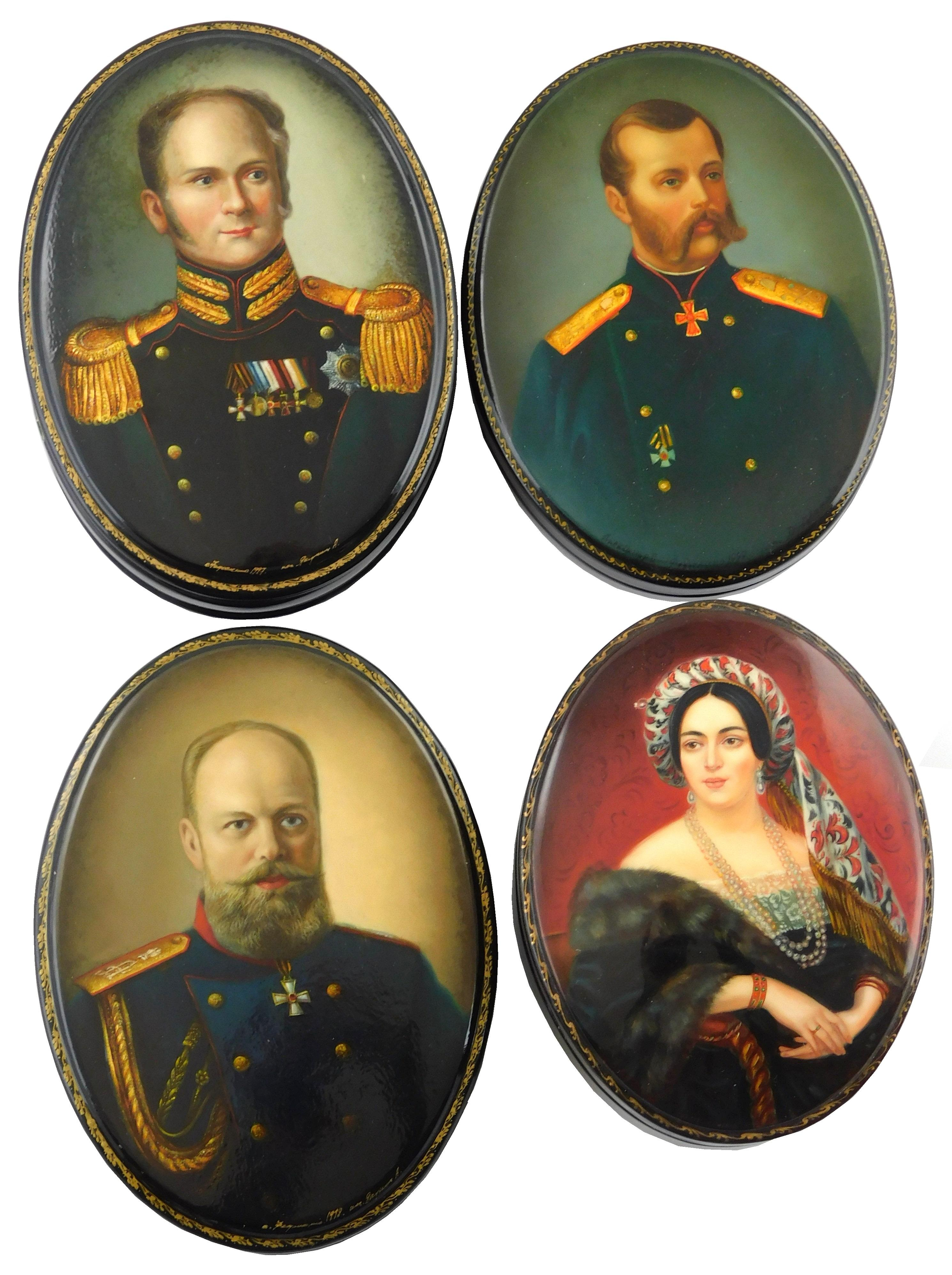 Russian hand-painted lacquer boxes, group of four royal portraits: Alexander I, II & III, all three in military-style coats, depicte...