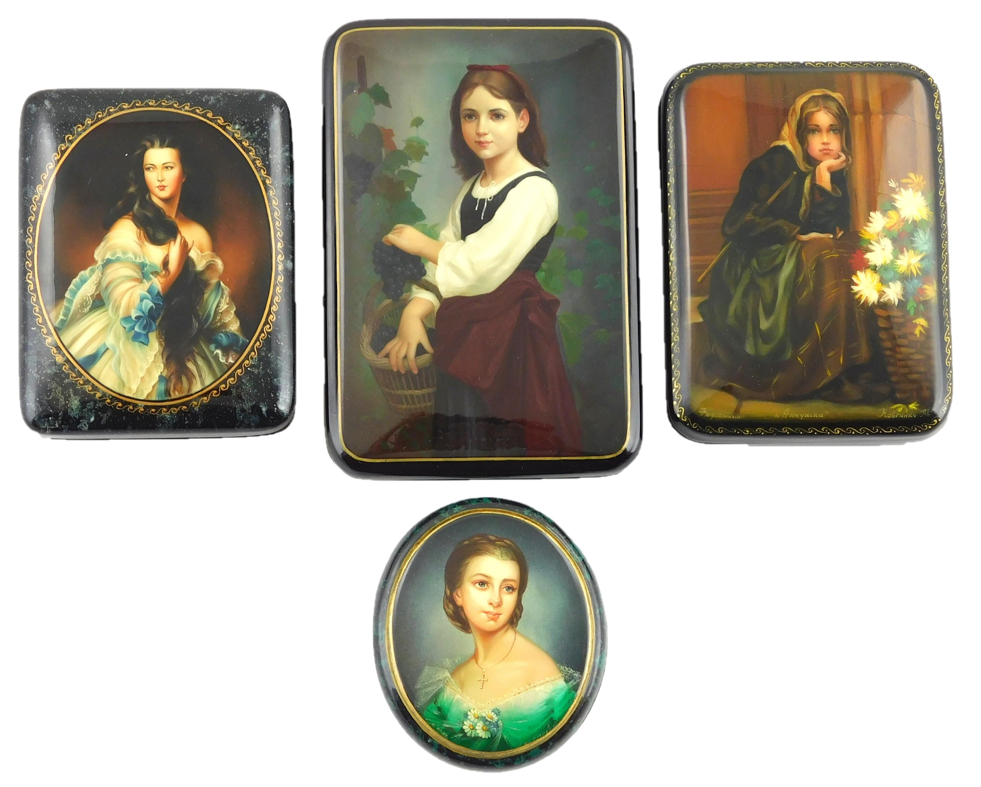 "Russian hand-painted lacquer boxes, group of four with portraits of young girls: ""Girl with Grapes"" painted after Elizabeth Jane Gar..."