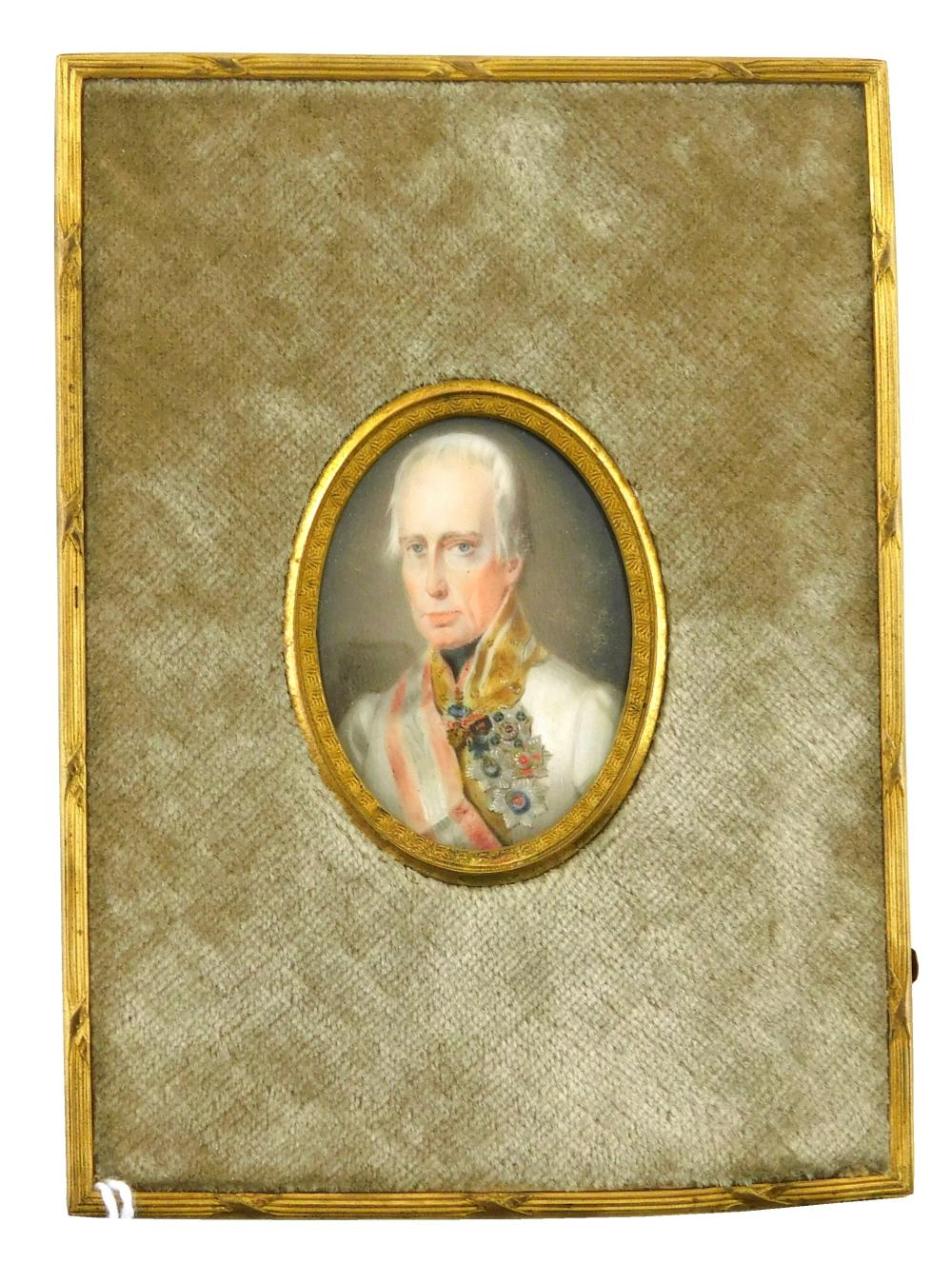 MINIATURE: Military Gentleman (Likely Emperor Franz II of Austria), oval support, grey hair, numerous medals, red and white sash, wh...