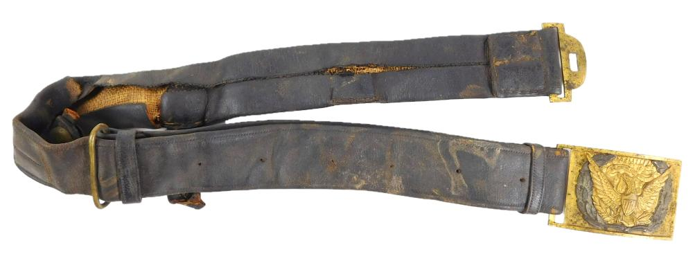 WEAPON: Sword belt, c. 1870, fabric and possible Civil War era brass eagle buckle, wear consistent with age and use, sold as found....