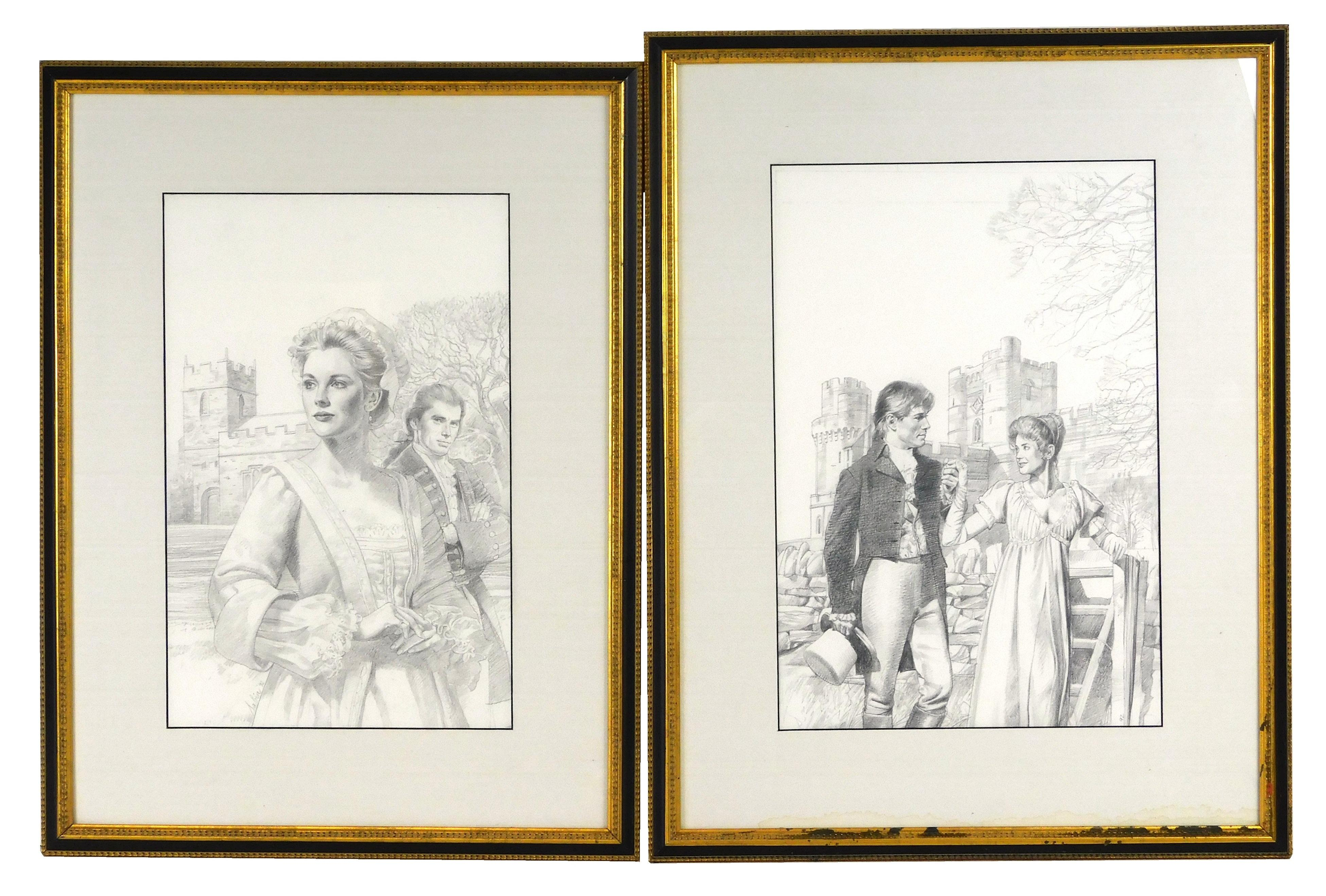 """Robert Sabin (American, 20th C.), two pencil illustrations of historical romance novel covers, including cover illustration for """"Ask..."""