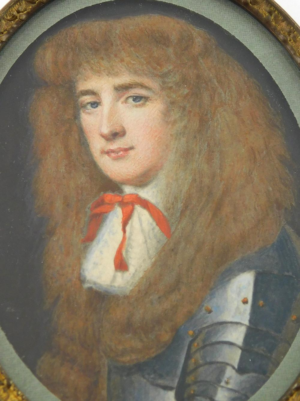 MINIATURE: Man in armor, possibly Lord Romney, oval support, man with brown bangs and long hair, suit of armor as well as red neckti...