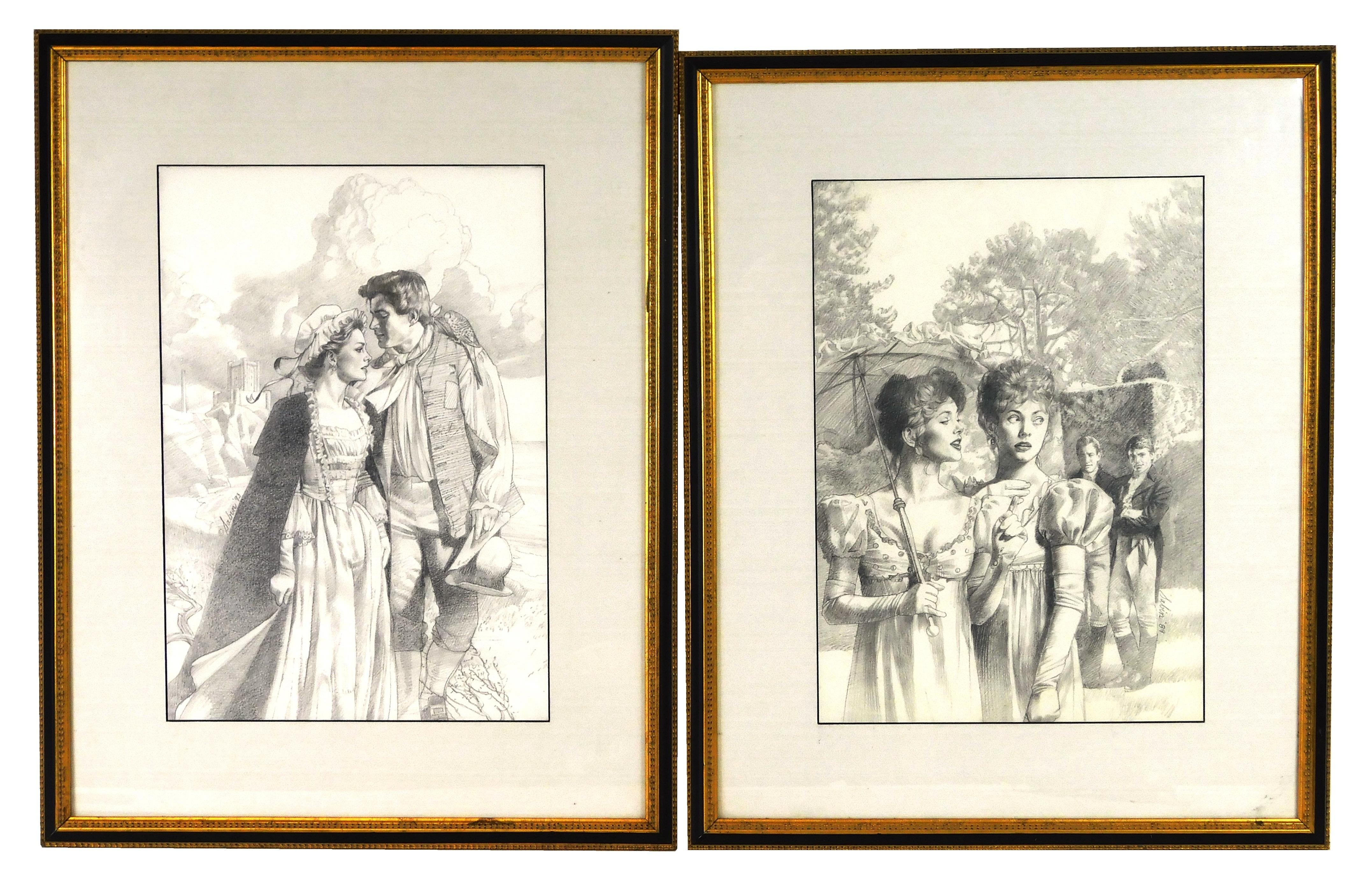 """Robert Sabin (American, 20th C.), two pencil illustrations of historical romance novel covers, including cover illustration for """"A S..."""