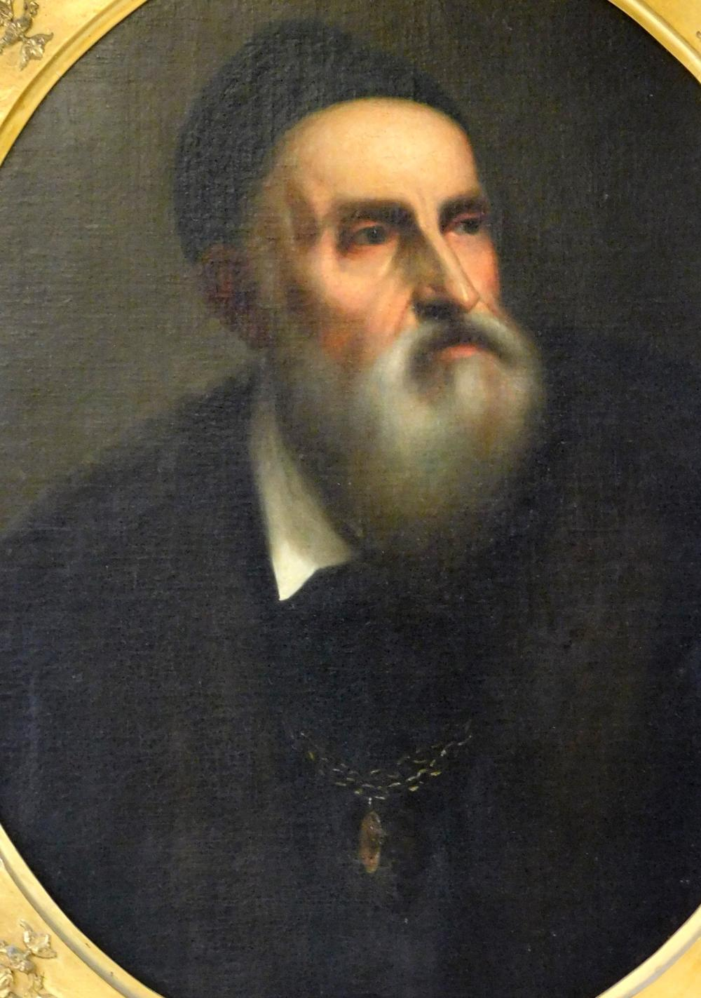Portrait of gentleman with grey beard, possible depiction of the artist Titian, oil on canvas, portrayed in dark clothing and hat, h...