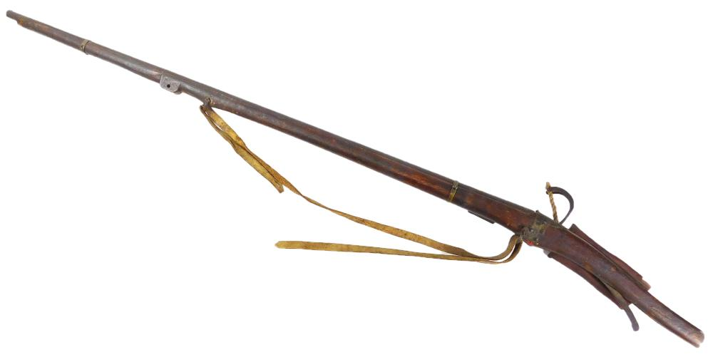 WEAPON: Japanese matchlock, c. 1820 - 1830, shellacked stock, Japanese engraved writing on top of barrel, includes hemp rope, crude...