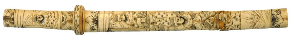 Japanese 18th C. tourist quality dagger, etched bone or ivory handle with many men depicted, wear consistent with age and use includ...