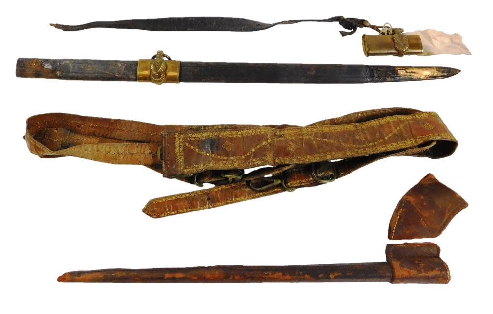 WEAPON: Pair of leather items, incomplete U.S. naval sword scabbard along with handmade gilded leather sword belt, small waist, no b...