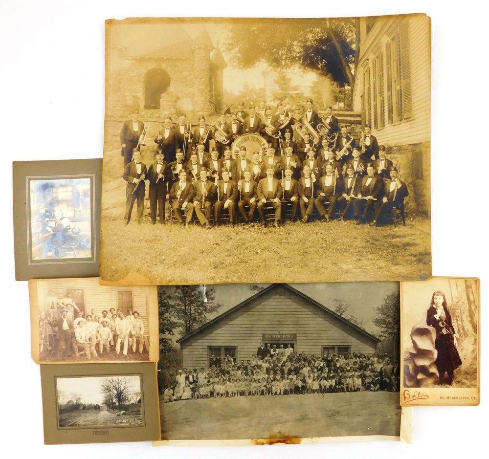 """Group of six early photographs, including large group image of the Hartford Sphinx Temple Shriner Band, 13 ½"""" h. x 16 ¼"""" w.; large O..."""