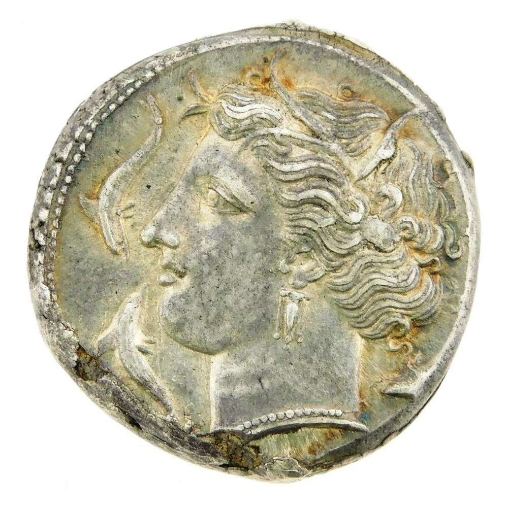 COIN: Ancient Greece Sicily, Syracuse. Circa 317-310 BC Agathokles (317-289 BC) AR Tetradrachm. Arethousa left, Charioteer right bel...