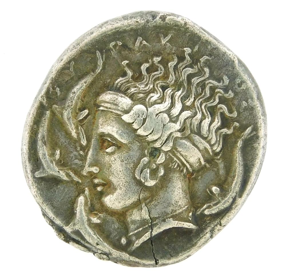 COIN: Ancient Greece Sicily, Syracuse. Circa 413-405 BC AR Tetradrachm. Charioteer and dolphins. VF with planchet flaw and some tool...
