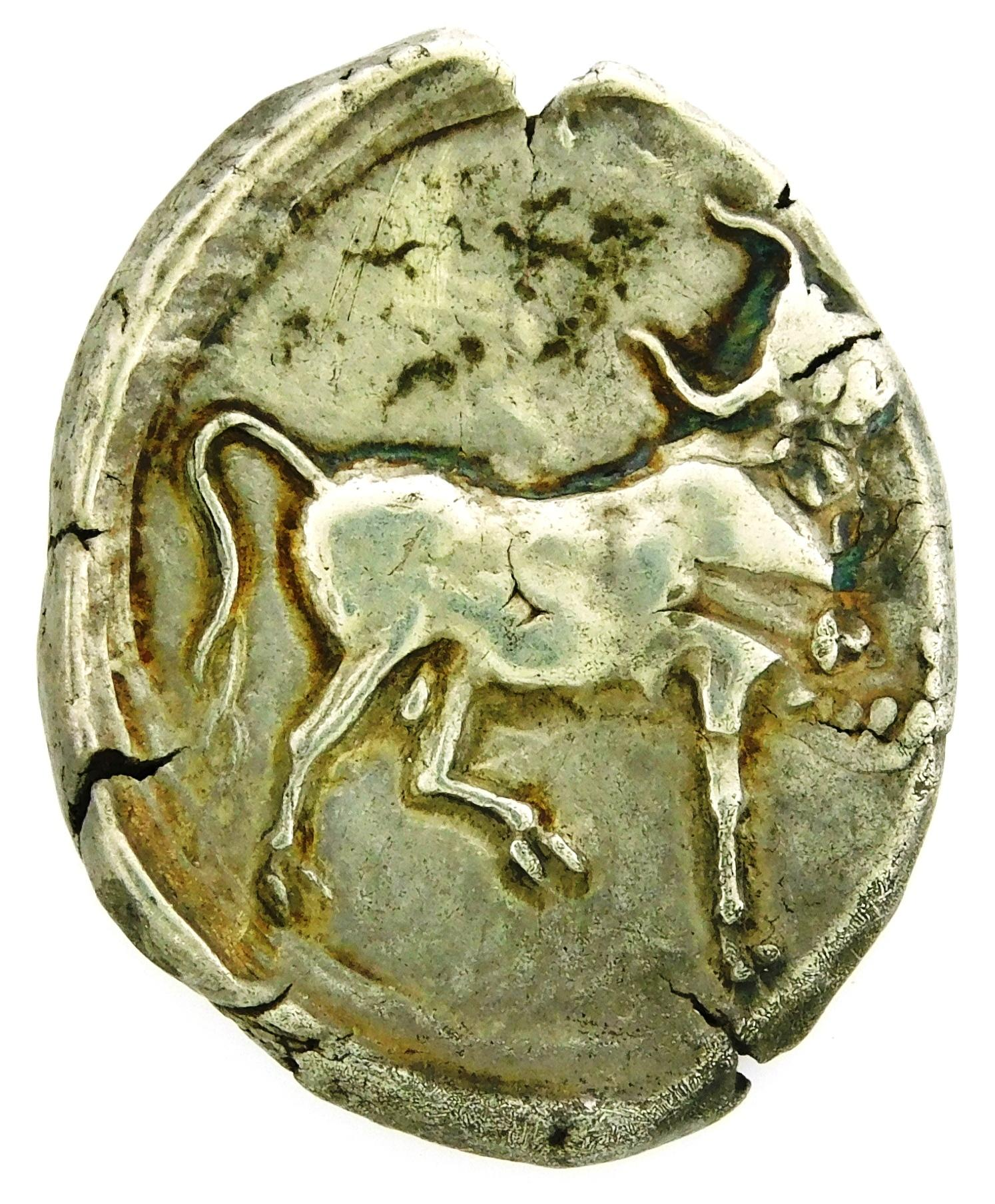 COIN: Ancient Crete Gortyna. Circa 350-330 BC, AR Stater. Europa left, bull right. Overstruck on uncertain type, nEF with scratches...