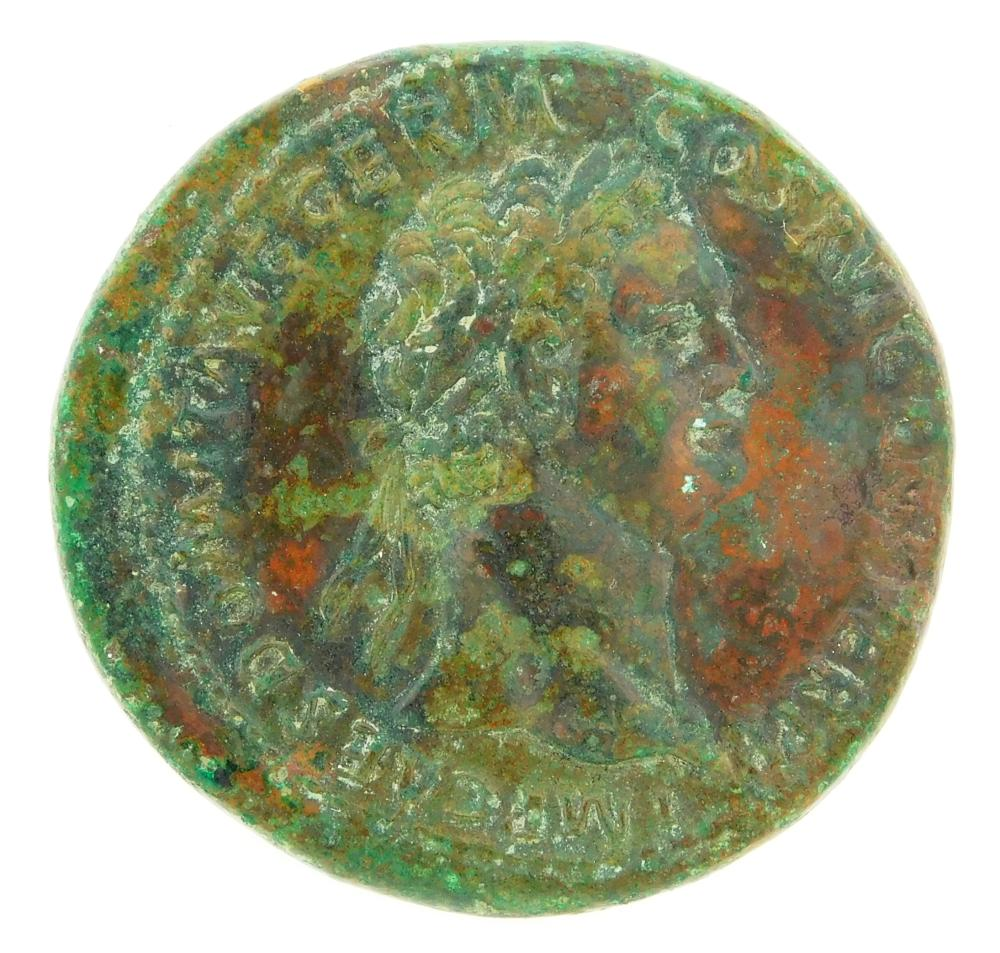 COIN: Ancient Rome. 81-96 AD Domitian AE Sestertius. Jupiter left holding Victory. RIC-751. nEF with some surface roughness. 25.7 Gr...