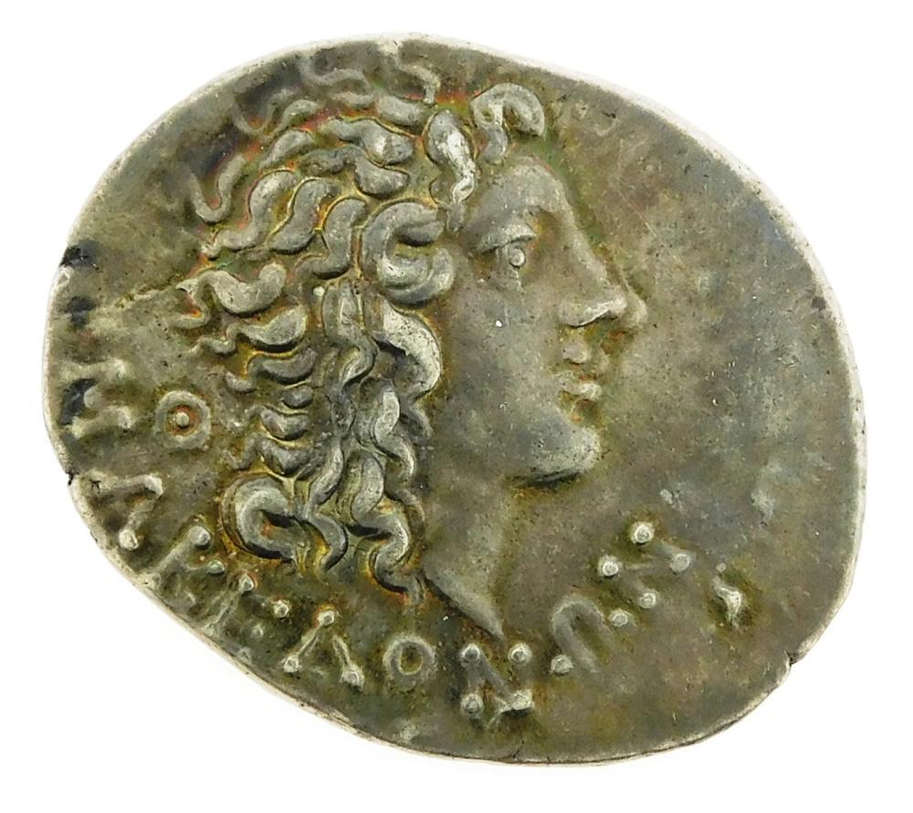 COIN: Macedon under Roman Rule. Circa 89 BC Aesillas (95-70 BC) AR Tertradrachm. Money chest, club and chair reverse. gEF. 16.64 Gra...
