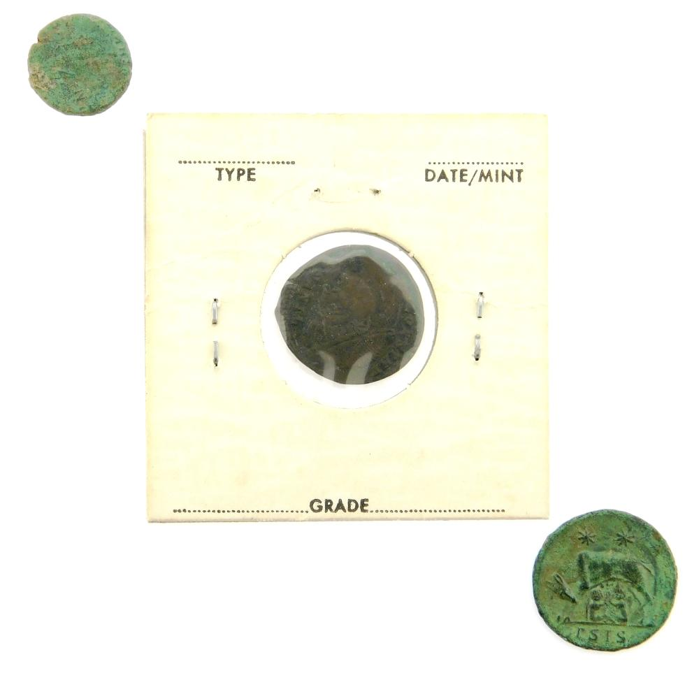 COINS: Ancient Rome Nonet. Includes: (3) Contastantine the Great (306-337). AE Follis, Camp Gate Reverse nEF 2.38 Grams, 17.4mm. AE...