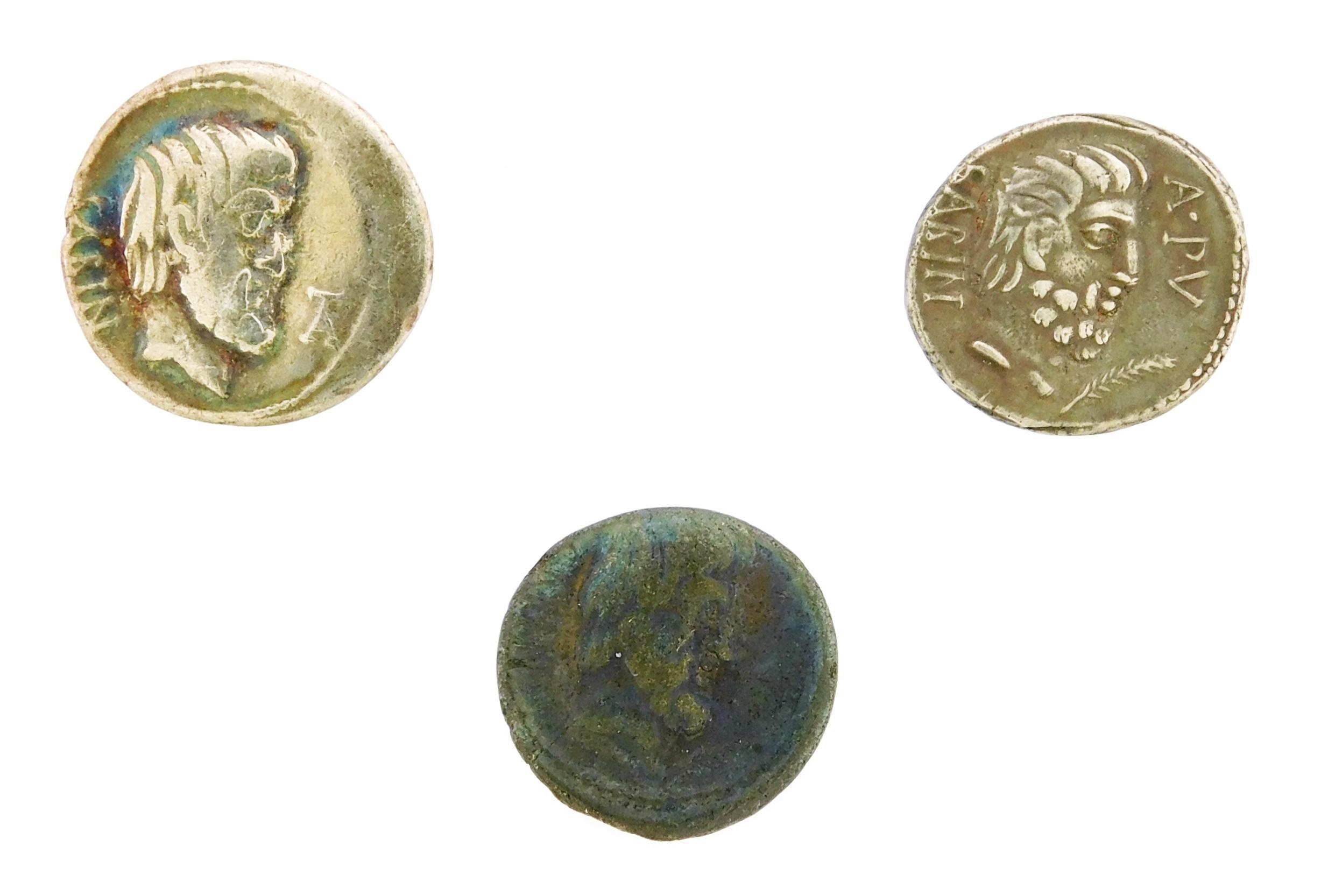 COINS: Ancient Rome L. Titurius Sabinus (89 BC) Denarii Trio. AR Denarius, Tatius right, Wheat Stalk, Punishment of Tarpeia. gEF wit...