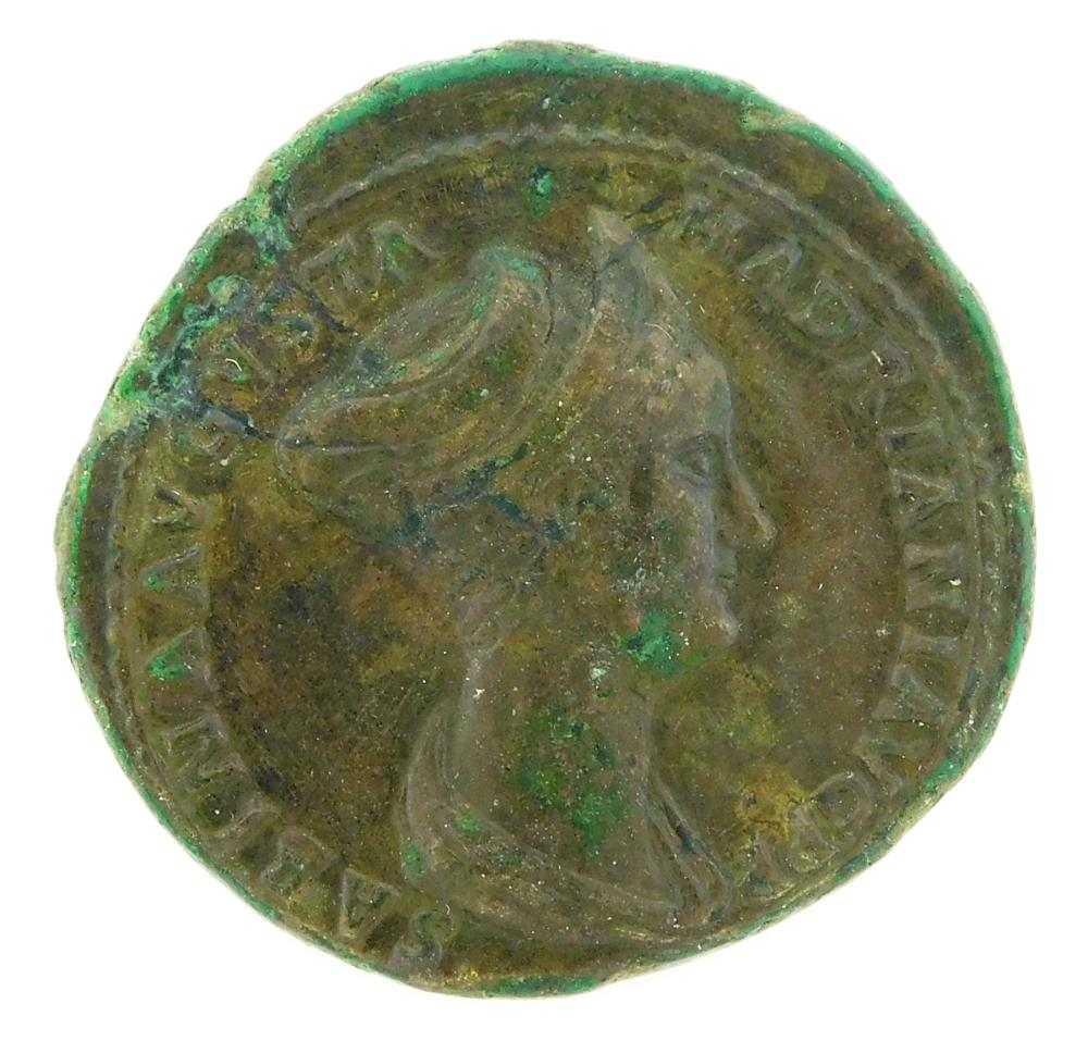 COIN: Ancient Rome. 128-136 AD Sabina Wife of Hadrian AE As. Vesta seated left, RIC-1024. EF, surfaces smoothed and tooled.