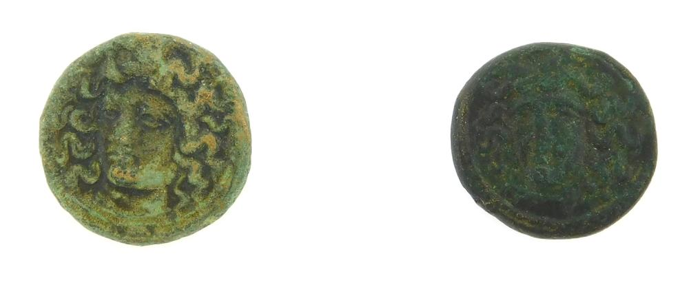 COIN: Ancient Greek Larissa, Thessaly Pair. Circa 400-344 BC Ae. Nymph Larissa, Horse trotting right, grain sprigs below. gVF with g...