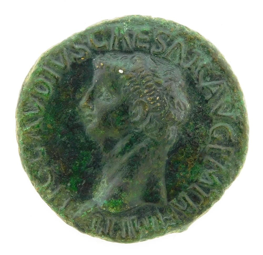 COIN: Ancient Rome. 41-54 AD Claudius I AE As. Minerva Standing Right. gVF. 9.78 Grams, 28mm [Disclaimer: Descriptions of these anci...