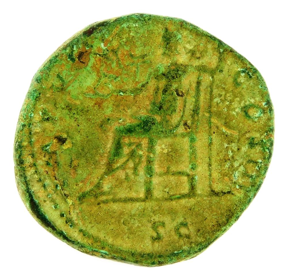 COIN: Ancient Rome. 161-180 AD Marcus Aurelius AE Dupondius. Jupiter Standing Left. F with dark green patina. 11.88 Grams, 25.7mm [D...