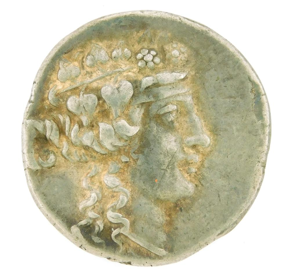 COIN: Ancient Greece Thrace Thasos. Circa 148-90 BC, AR Tetradrachm. Dionysos right, Hercules standing left. nEF. 16.85 Grams, 29.1m...