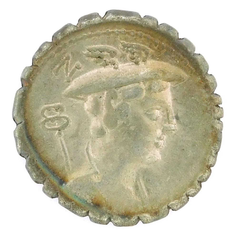COIN: Ancient Rome. 82 BC C. Mamilius Limetanus Ar Denarius. Mercury right, Ulysses left. nVF. 3.83 Grams, 18.4mm [Disclaimer: Descr...