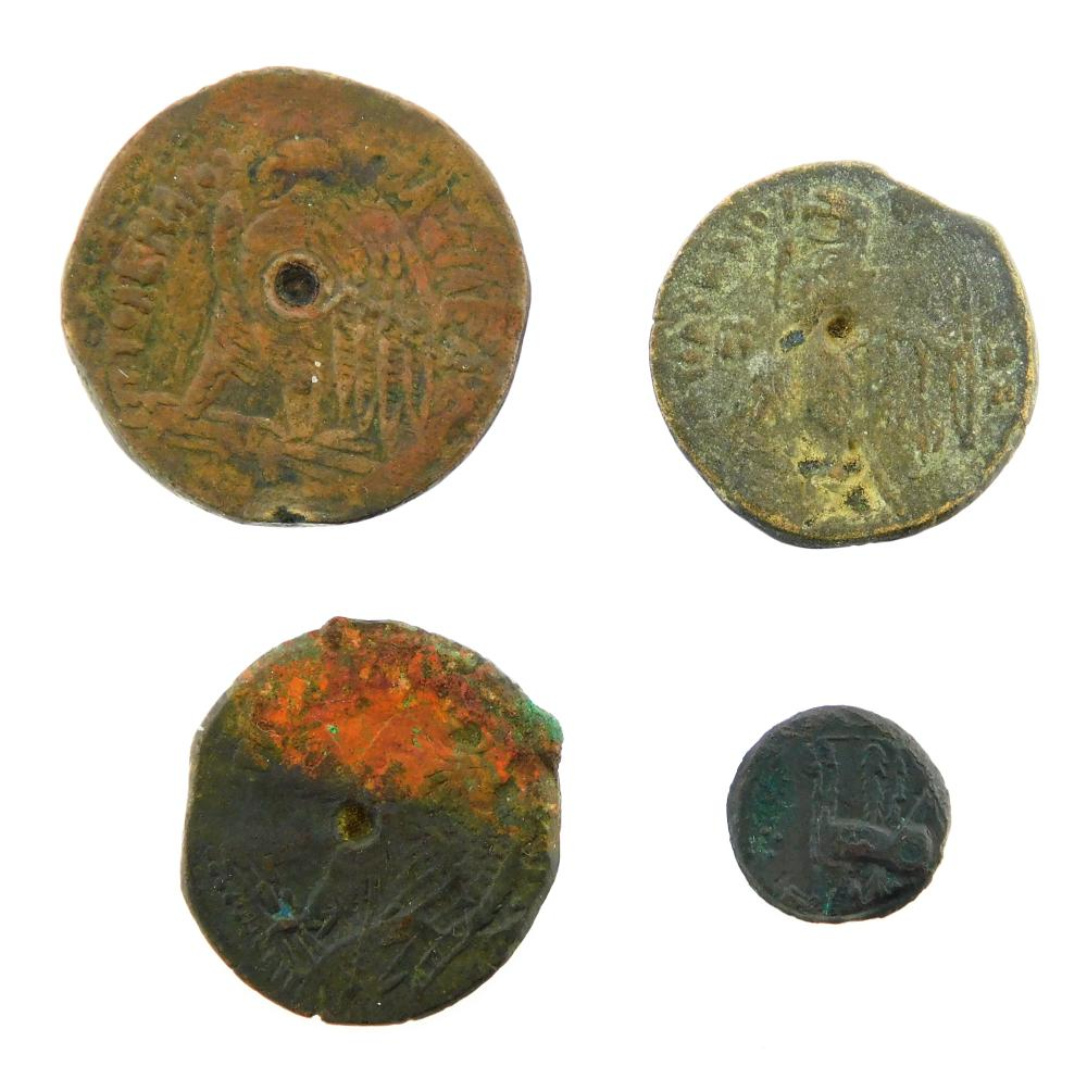 COINS: Carthage and Ptolemaic Egypt Quartet. Ptolemy V (205-180 BC) (3) AE Isis and Eagle nVF. 34.36 Grams, 31.4mm. AE Isis and Eagl...