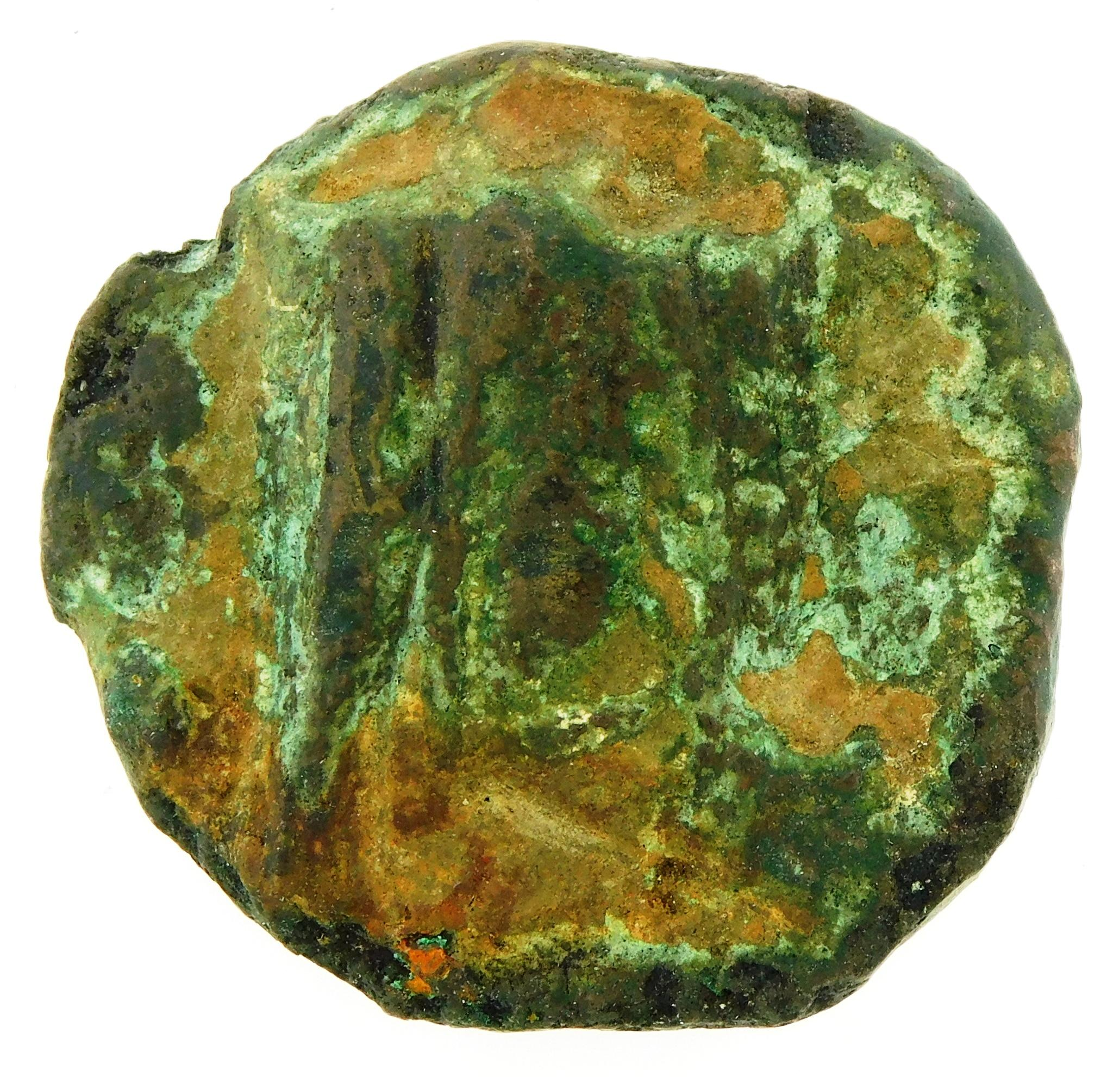 COIN: Ancient Rome. Circa 240-225 BC Anonymous AE Aes Grave Sextans. Head of Mercury left, Prow of Galley. Crawford 35/5. VG for typ...