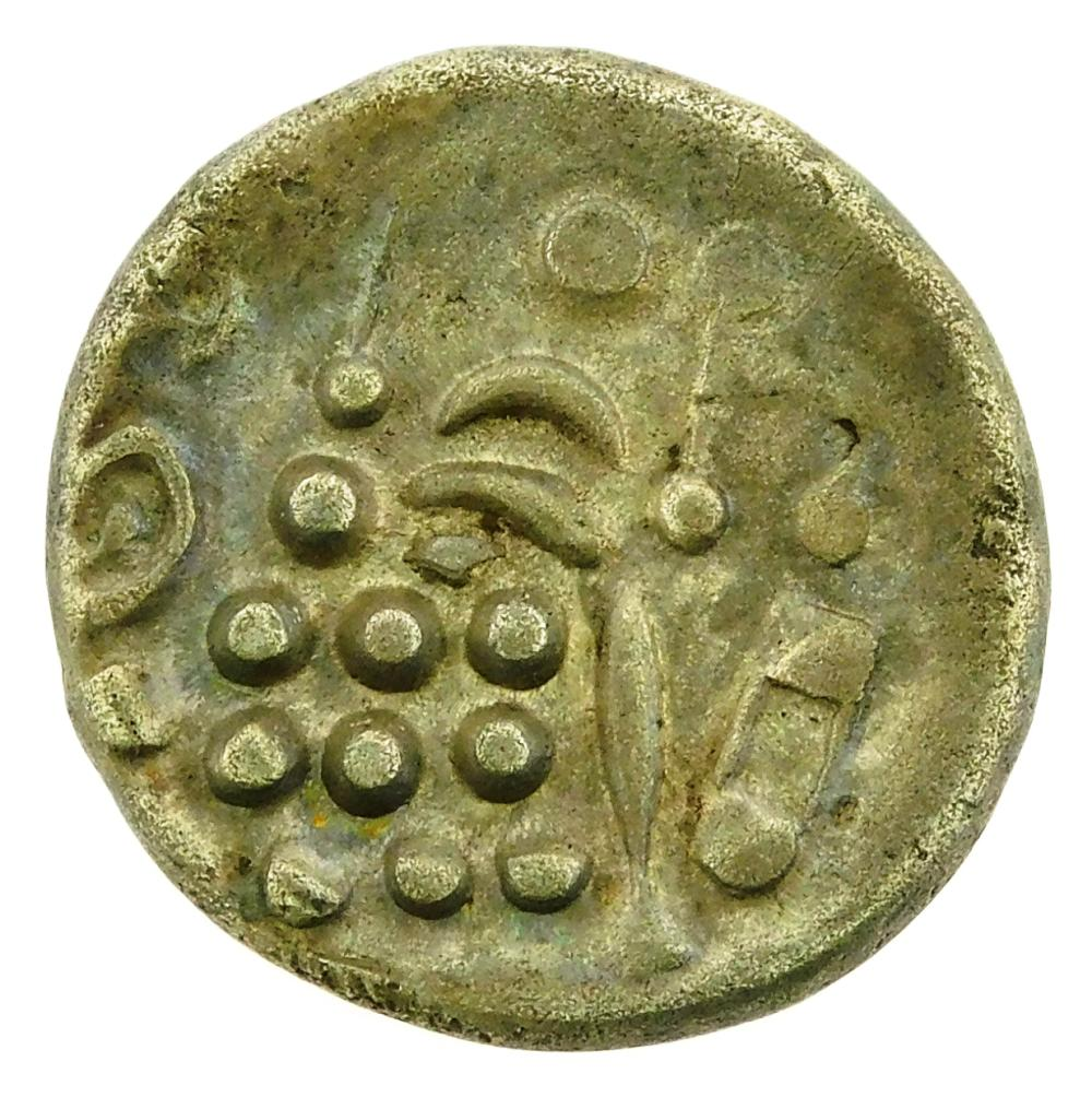 COIN: Ancient Celtic. Circa 65-45 BC- 45 AD Durotriges Celtic Tribes of Britain AR Stater. Stylized head of Apollo/stylized disjoint...