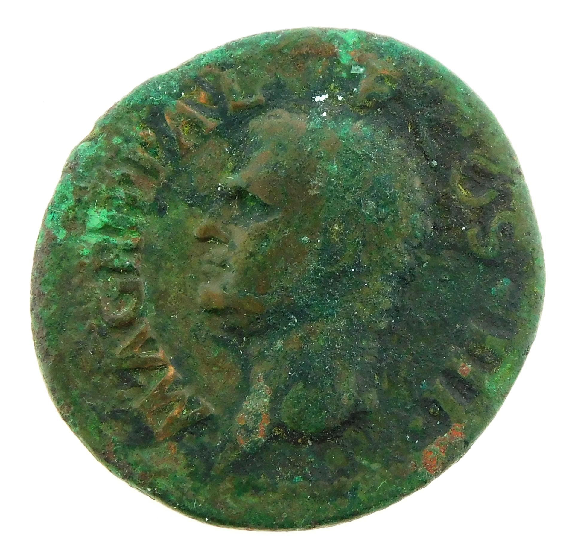 COIN: Ancient Rome. 37-41 AD M. Agrippa AE As Struck under Caligula. Neptune left with Dolphin and Trident. gF with some excess gree...