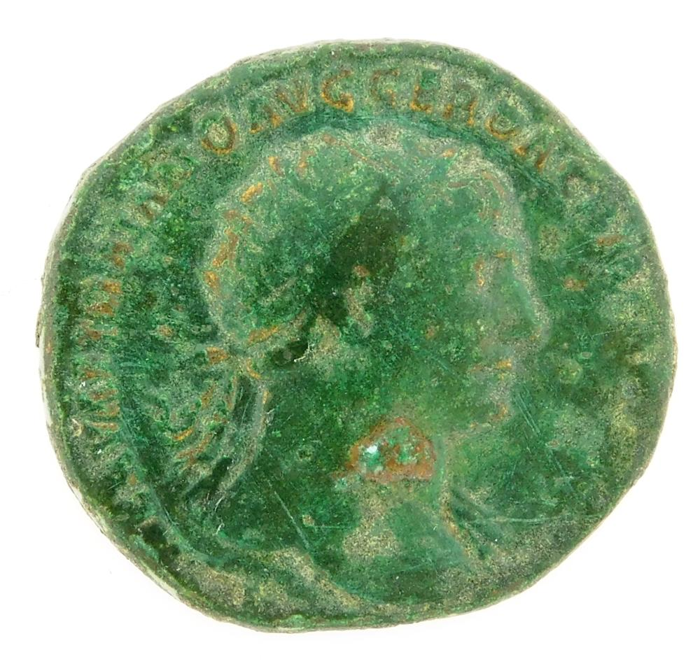 COIN: Ancient Rome. 98-117 AD Trajan AE Dupondius. Pax, foot on captured Dacian. nVF, heavy green patina. 10.12 Grams, 25.6mm [Discl...